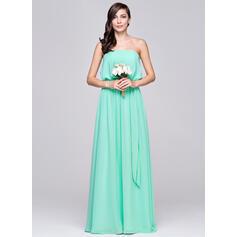 A-Line/Princess Strapless Floor-Length Chiffon Bridesmaid Dress With Ruffle (007057104)