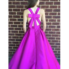 Ruffle Floor-Length Sleeveless With Satin Evening Dresses