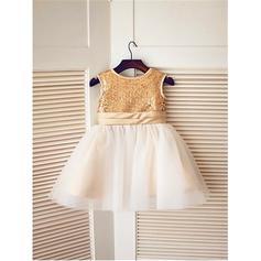 Escote redondo Corte A/Princesa Vestidos para niña de arras Tul/Con lentejuelas Fajas/Lazo(s) Sin mangas Hasta la rodilla (010211881)