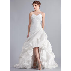 A-Line Sweetheart Asymmetrical Taffeta Wedding Dress With Ruffle (002025339)