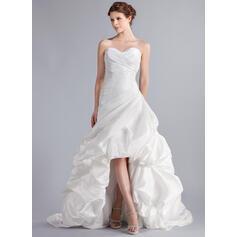 Corte A Amada Assimétrico Tafetá Vestido de noiva com Pregueado (002025339)