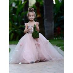 Square Neckline Ball Gown Flower Girl Dresses Flower(s) Sleeveless Court Train (010145232)