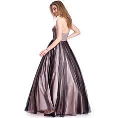 Charmeuse Tul Precioso Corte de baile Hasta el suelo Vestidos de baile de promoción (018025295)