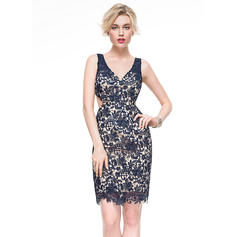 Sexy Sheath/Column V-neck Lace Cocktail Dresses