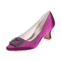 Women's Closed Toe Pumps Chunky Heel Satin With Rhinestone Wedding Shoes