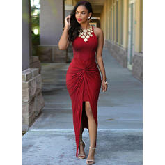 Sheath/Column Scoop Neck Asymmetrical Evening Dresses With Ruffle Beading