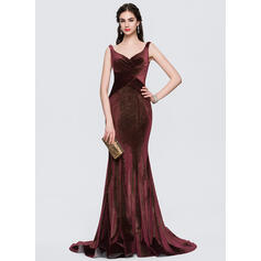 Trumpet/Mermaid V-neck Sweep Train Velvet Evening Dress With Ruffle (017154030)