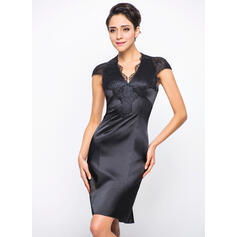 Sheath/Column V-neck Knee-Length Charmeuse Lace Cocktail Dress