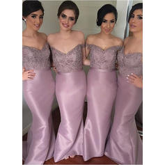 Bridesmaid Dresses Off-the-Shoulder Sheath/Column Sleeveless Sweep Train (007144955)