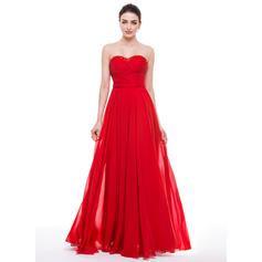Chiffon Sleeveless A-Line/Princess Prom Dresses Sweetheart Ruffle Beading Appliques Lace Sequins Bow(s) Floor-Length