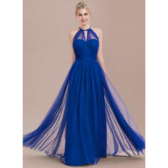 A-Line Scoop Neck Floor-Length Tulle Bridesmaid Dress With Ruffle Bow(s)