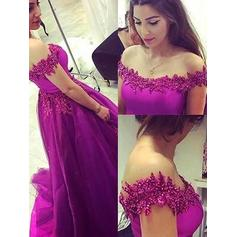 Ball-Gown Off-the-Shoulder Floor-Length Tulle Prom Dresses With Appliques Lace