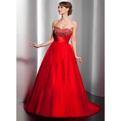 Ball-Gown Tulle Prom Dresses Modern Sweep
