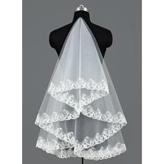 Walzer Braut Schleier Tüll Einschichtig Ovale/Mantilla mit Spitze Saum Brautschleier