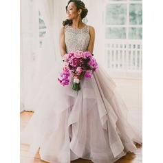 Gorgeous Floor-Length Ball-Gown Wedding Dresses Scoop Tulle Sleeveless