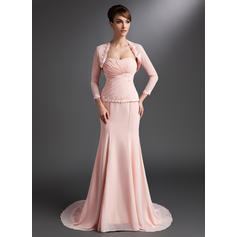 Trumpet/Mermaid Sweetheart Court Train Mother of the Bride Dresses With Ruffle Lace Beading Sequins