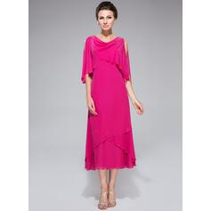 Forme Princesse col bénitier Longueur mollet Mousseline Robe de mère de la mariée avec Brodé Paillettes Robe à volants (008042888)