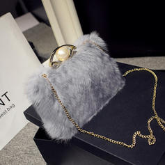 Clutches Wedding/Ceremony & Party Fur Push-lock frame closure Delicate Clutches & Evening Bags