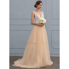 Ball-Gown V-neck Sweep Train Tulle Wedding Dress With Beading Sequins (002107847)