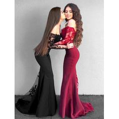 Satin Long Sleeves Trumpet/Mermaid Prom Dresses Off-the-Shoulder Appliques Floor-Length