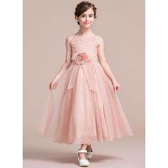 Forme Princesse Longueur mollet Robes à Fleurs pour Filles - Tulle Sans manches Bretelles avec Fleur(s) (010106131)