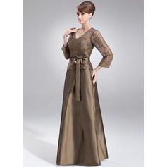 Moderno Escote en V Corte A/Princesa Tafetán Vestidos de madrina (008211205)