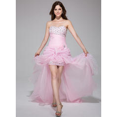 A-Line/Princess Sweetheart Asymmetrical Prom Dresses With Ruffle Beading Flower(s) (018025506)