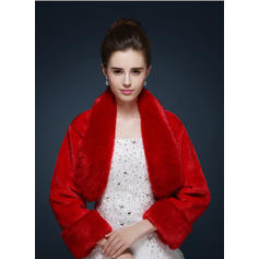 Wrap Wedding Faux Fur Long Sleeve Ivory Red Wraps