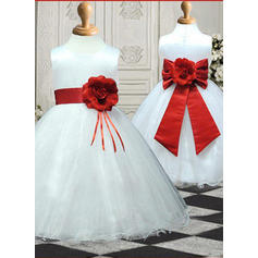 Scoop Neck Ball Gown Flower Girl Dresses Satin/Tulle Sash/Flower(s)/Bow(s) Sleeveless Knee-length
