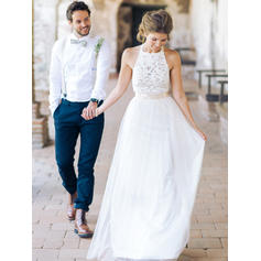 Chic Tulle Wedding Dresses A-Line/Princess Floor-Length Scoop Sleeveless