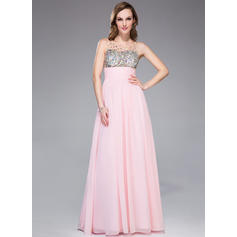 Chiffon Sleeveless Empire Prom Dresses Scoop Neck Ruffle Beading Floor-Length