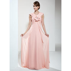 Empire V-neck Chiffon Sleeveless Sweep Train Ruffle Flower(s) Mother of the Bride Dresses