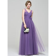 A-Line/Princess V-neck Floor-Length Tulle Bridesmaid Dress With Ruffle Flower(s) (007074188)