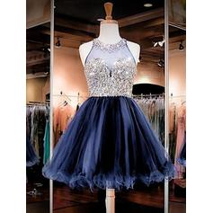 Beading A-Line/Princess Short/Mini Organza Homecoming Dresses