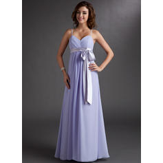 Chiffon Sleeveless Empire Bridesmaid Dresses Sweetheart Ruffle Sash Bow(s) Floor-Length