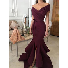 Sweep Train Off-the-Shoulder Princess With Charmeuse Evening Dresses