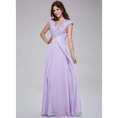 Hasta el suelo Gasa Corte A/Princesa Escote en V Vestidos de baile de promoción (018025512)