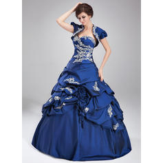 Ruffle Beading Appliques Sequins Ball-Gown Sweetheart - Taffeta Prom Dresses (018135160)