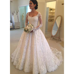Chic Cathedral Train Ball-Gown Wedding Dresses Scoop Lace Long Sleeves