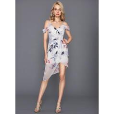 Sheath/Column V-neck Asymmetrical Chiffon Cocktail Dress (016124553)