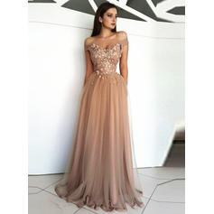 Appliques Off-the-Shoulder With A-Line/Princess Tulle Evening Dresses (017217835)