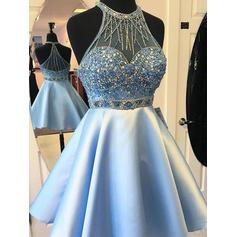 Sash Beading A-Line/Princess Short/Mini Satin Homecoming Dresses (022216248)