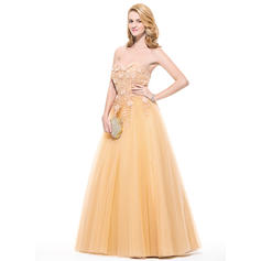 Sleeveless Ball-Gown Tulle Sweetheart Prom Dresses (018075891)