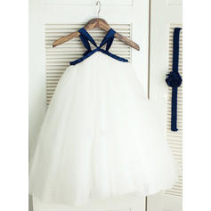 A-Line/Princess Straps Ankle-length With Sash Tulle Flower Girl Dresses