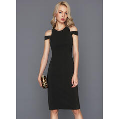 Sheath/Column Scoop Neck Knee-Length Stretch Crepe Cocktail Dress With Split Front (016124569)