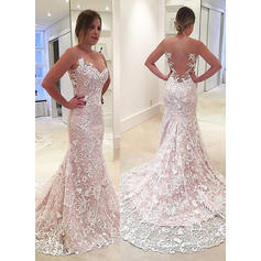 Modern Sweep Train Trumpet/Mermaid Wedding Dresses Sweetheart Lace Sleeveless
