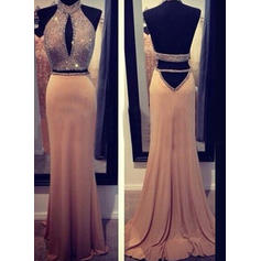 Sheath/Column Halter Sweep Train Evening Dresses With Beading