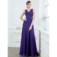 A-Line/Princess Chiffon Bridesmaid Dresses Ruffle Beading V-neck Sleeveless Floor-Length (007001053)
