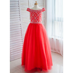 Ball Gown Floor-length Flower Girl Dress - Satin/Tulle Sleeveless Off-the-Shoulder With Sequins/Rhinestone (010093189)