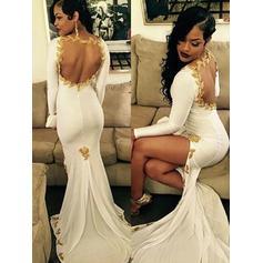 Chiffon Fashion Trumpet/Mermaid Sweep Train Prom Dresses (018218655)
